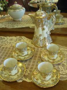 Late 19th century porcelain chocolate set