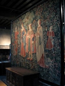 Antique tapestry from the Middle Ages