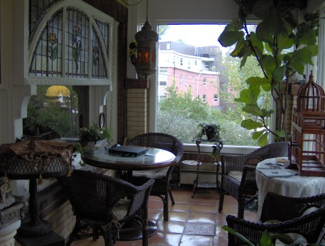 Enclosed porch with a view towards downtown