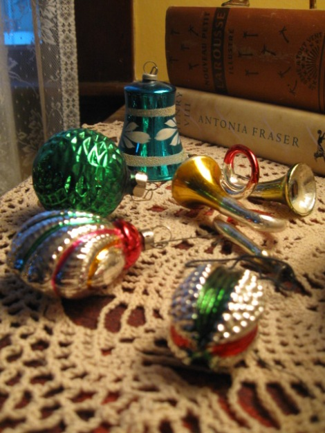 Antique Christmas decorations with different themes