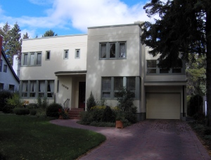 A sympathetic driveway for a 1930's Moderne house