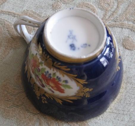B blue bottom lady marked porcelain white