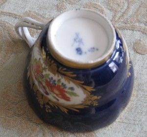Imprint on Bottom with Signature. Tea Cups with Fluted Saucers