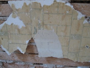 Lath and wallpaper fragment