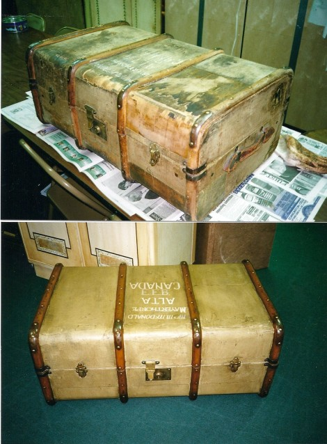 Antique Trunk before and after