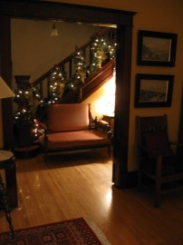 The stairwell at Christmas