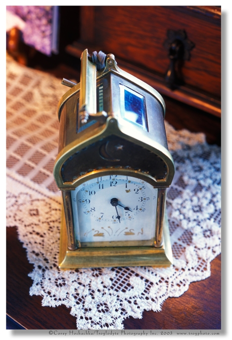 Antique Carriage Clock with original leather presentation case.