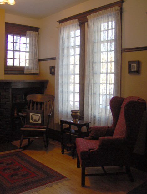 Authentic details such as the fireplace and windows give this historic entrance great appeal.
