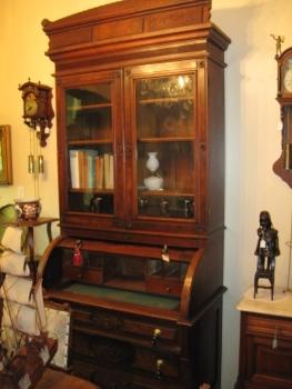 Walnut secretary with cylinder desk