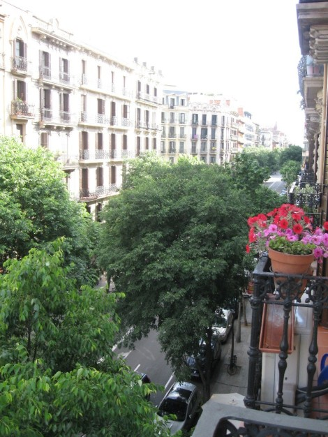This is the view outside our balcony. The balconies are shallow. Note the lovely wrought iron railings.