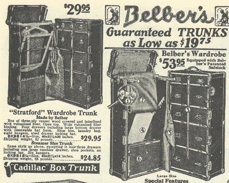 Trunks from the 1927 Sears catalogue