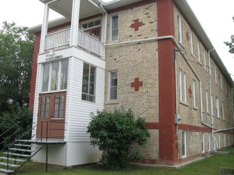This old hospital, built in 1913, is now a cheap place to stay.