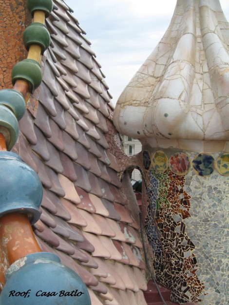 A detail of the rooftop of Gaudi's famous Casa Batlo
