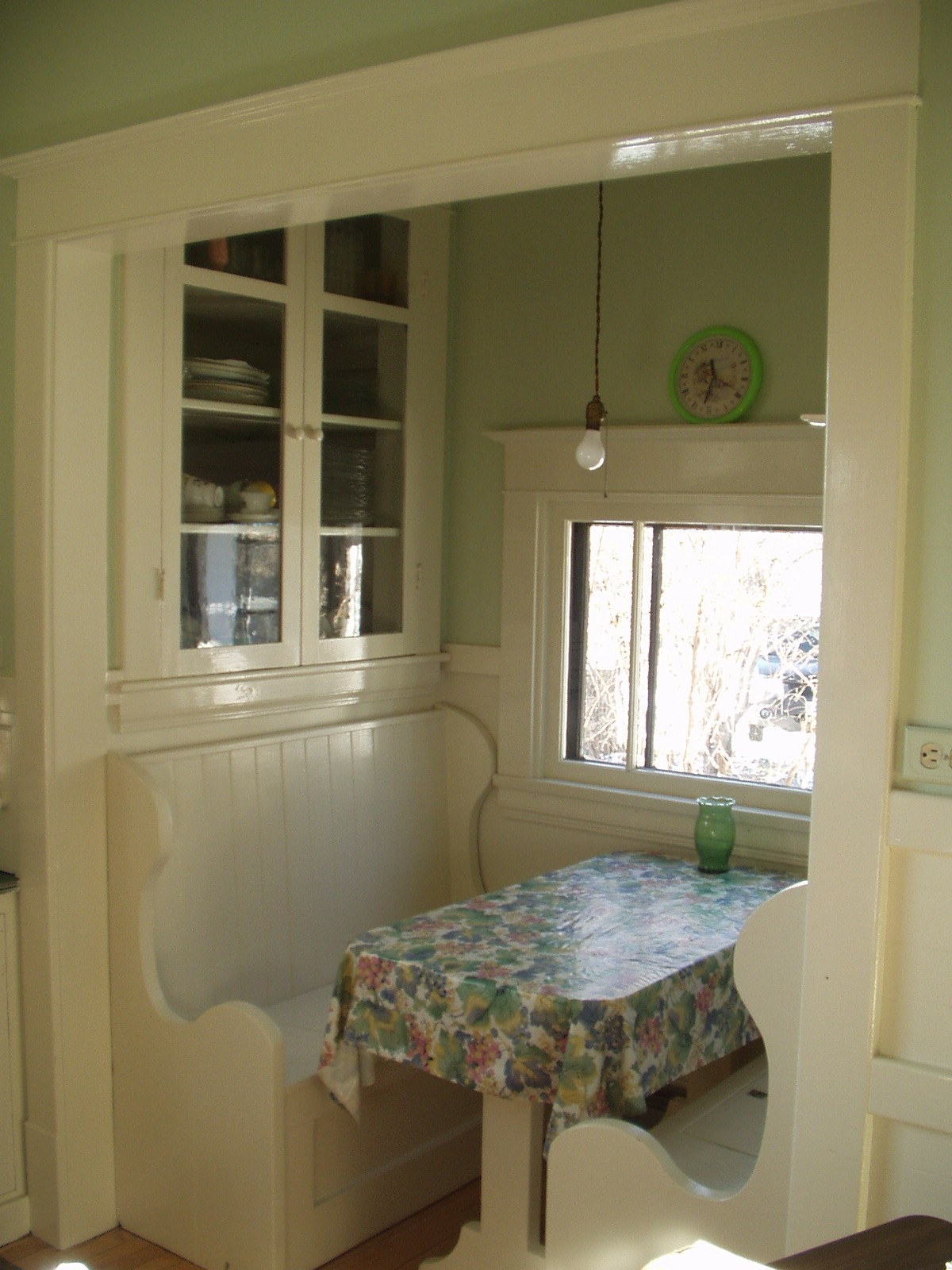 An Original 1920s Kitchen Nook Complete With Pendant Light Fixture
