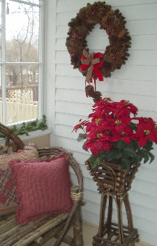 A vignette can include a small area in a room. This porch corner is brightened up for the season.