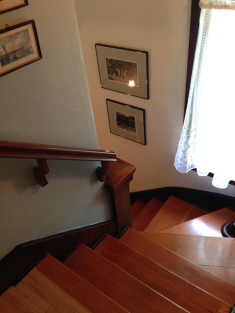 We repaired and touched up the stairs without stripping them.