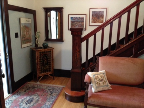 The entrance foyer to our 1912 four-square house with its new paint.