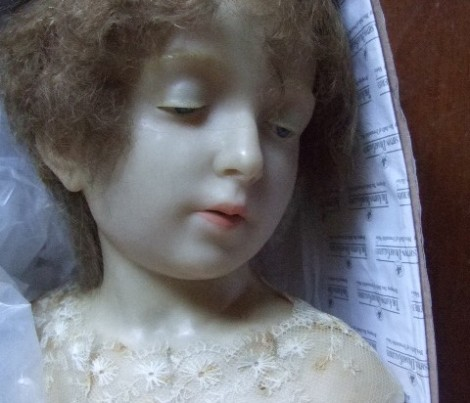 Antique wax doll. Image from Heather Bond Dolls.