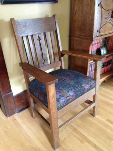 Arts and  Crafts chair with pierced chair back