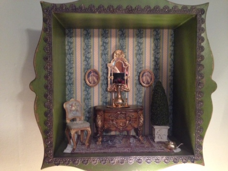 "A Louis XV Vignette with Rococo ""bombe"" chest and French side chair."
