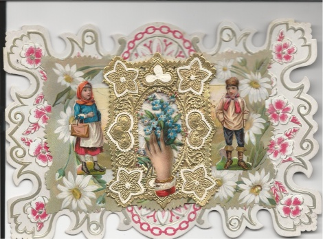 This card is made up of three layers of decorative paper plus cut-outs of two children and a hand holding flowers.
