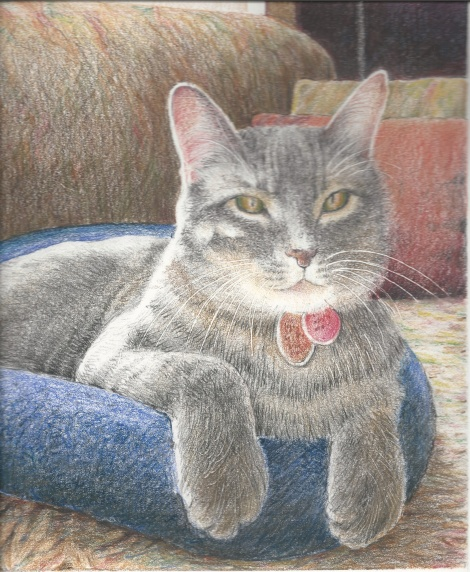 This was my fourth and final drawing. It's taken from a photo that my sister took of her cat. The title of this work is Caesar, the Ankle-biter.
