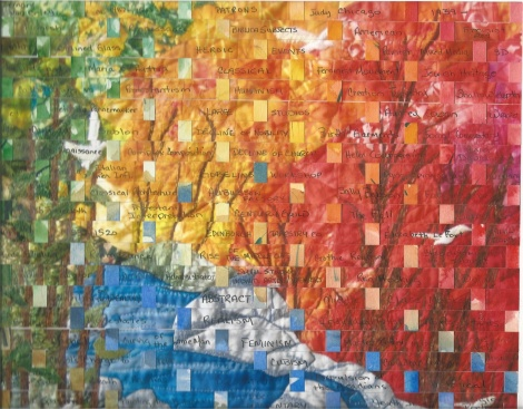 Note that this image is  similar design to the picture above but in this case the reliance on nature has been replaced by pure colour, abstract design and the use of words and woven strips to create meaning.