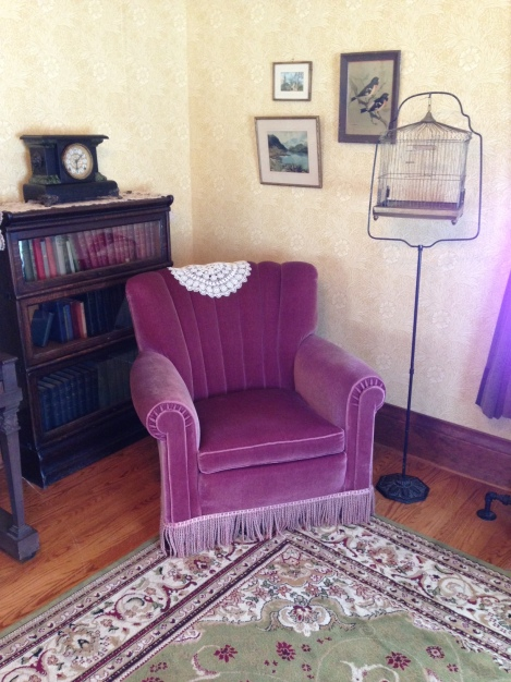 A set date means that all objects in the home must be prior to that date. The set date for this home's restoration is 1920 hence the 1920's armchair you see here.